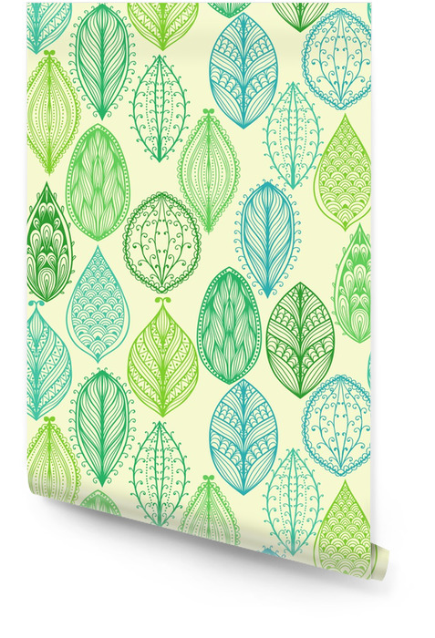 Seamless hand drawn vintage pattern with green ornate leaves Wallpaper roll - Styles