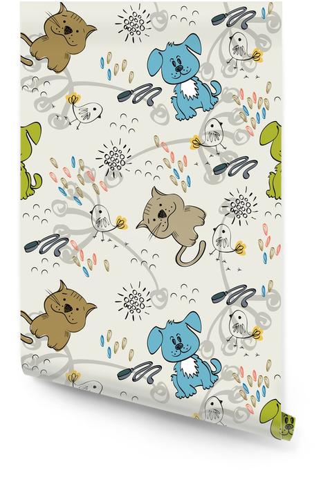 Cute hand draw seamless pattern for kids. Wallpaper roll - Mammals