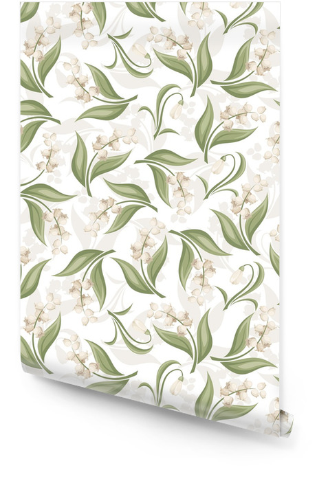 Seamless pattern with lily of the valley and snowdrop flowers. Wallpaper roll - Backgrounds