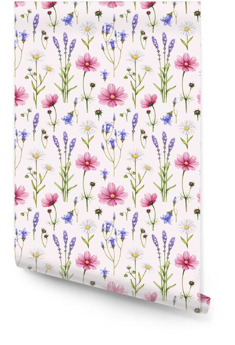 Dzikie kwiaty ilustracji. Akwarela bez szwu deseń Tapeta w rolce - Style