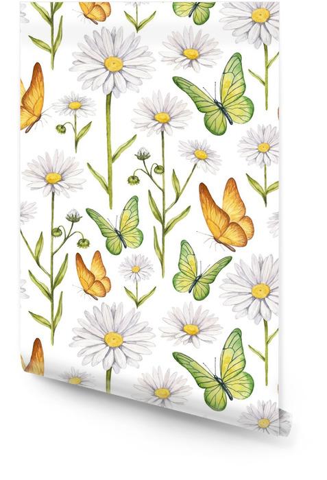 Kamille bloemen en vlinders illustratie Behangrol - Grafische Bronnen