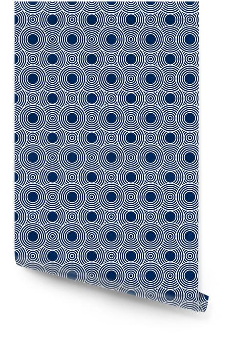 Marine-Blau und Weiß Kreise Fliesen Muster-Wiederholung Hintergrund Tapetenrolle - Hintergründe
