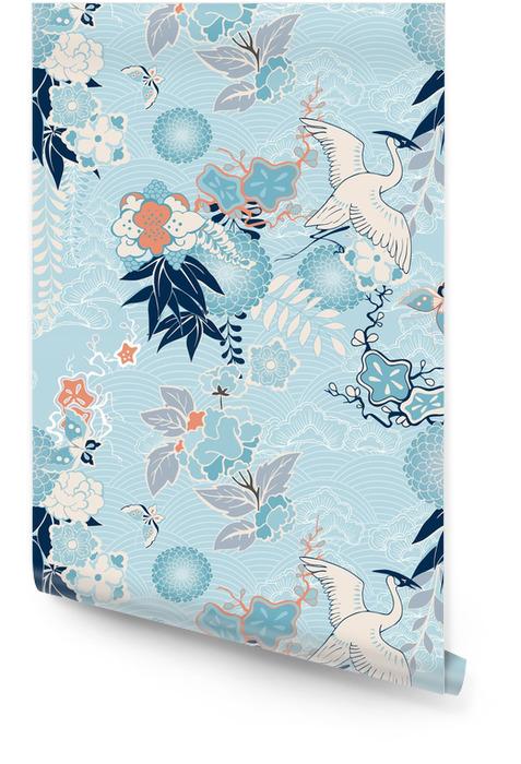 Kimono achtergrond met kraan en bloemen Behangrol - Bestemmingen