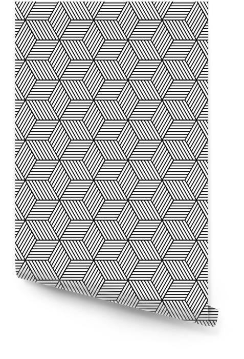 Seamless geometric pattern with cubes Wallpaper roll - Graphic Resources