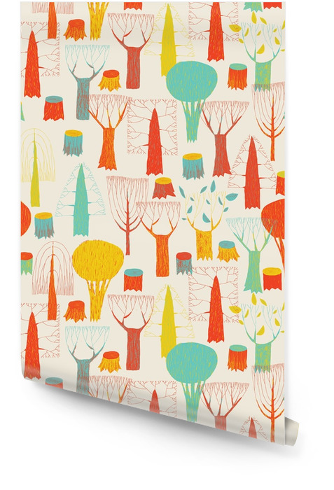 Trees seamless pattern tapestry in pop-colors Wallpaper roll - Landscapes