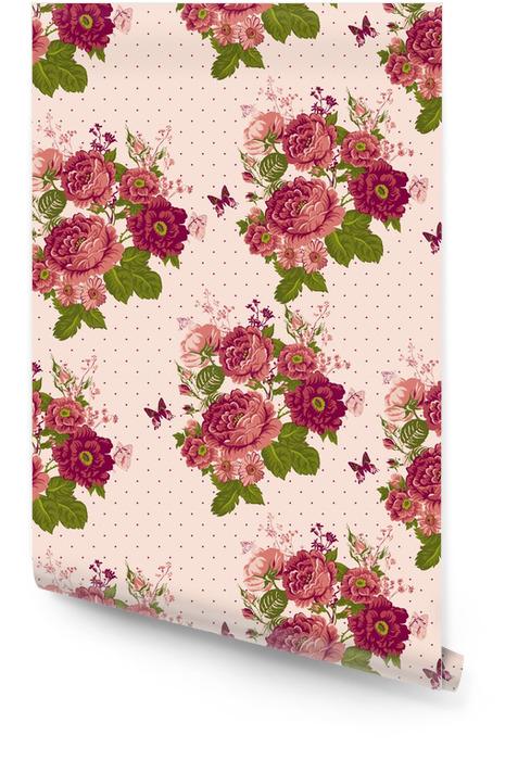 Rosas de la vendimia Fondo transparente con mariposas Rollo de papel pintado - Conceptos de negocios