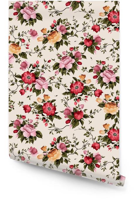 Bezszwowe wektor kwiatowy wzór z róż na jasnym tle Tapeta w rolce - Zasoby graficzne