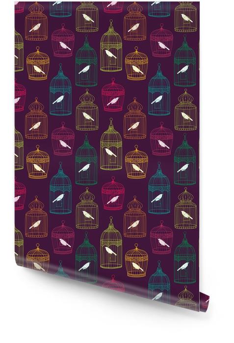 Patrón sin fisuras de jaulas de pájaros Rollo de papel pintado - Recursos gráficos