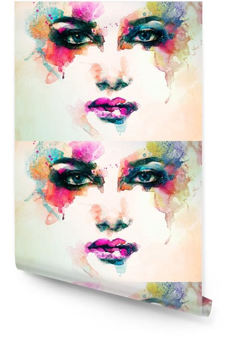 Portret kobiety .abstract tle akwarela .fashion Tapeta w rolce - Ludzie