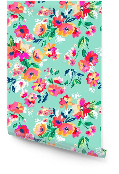 Całkiem malowane kwiaty ~ bezszwowe tło Tapeta w rolce - Do sypialni