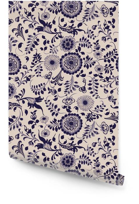 Jednolite wzór, kwiatowe elementy dekoracyjne w stylu gzhel Tapeta w rolce - Zasoby graficzne