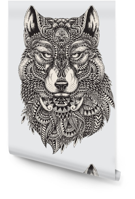 Bardzo szczegółowe streszczenie ilustracji wilka Tapeta w rolce - Style