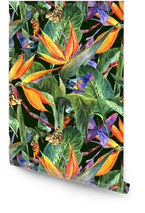 Tropikalny wzór z egzotycznych kwiatów Tapeta w rolce - Środowisko