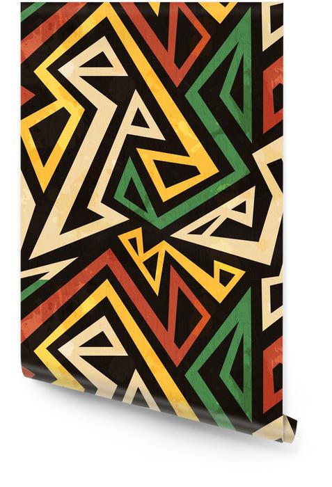 Africano, seamless, patrón geométrico con efecto grunge Rollo de papel pintado -