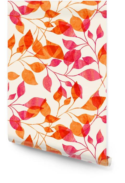 Aquarell nahtlose Muster mit rosa und orange Blätter im Herbst. Tapetenrolle - Wissenschaft und Natur