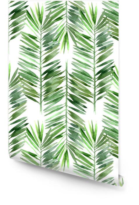 Akwarela palma liści bez szwu Tapeta w rolce - Rośliny i kwiaty