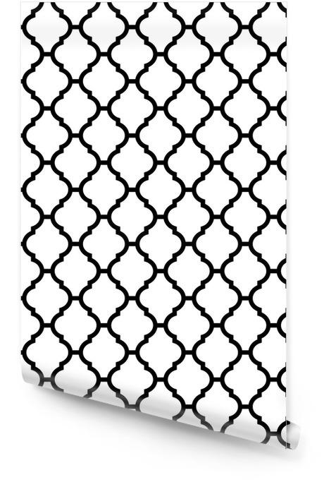 Marokkanischen nahtlose Muster in Schwarz und Weiß Tapetenrolle - Hintergründe