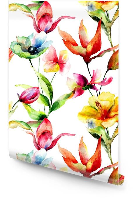 Bezszwowa tapeta z stylizowanymi kwiatami Tapeta w rolce - Rośliny i kwiaty