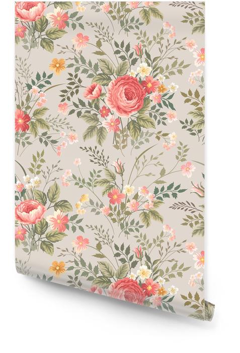 Modelo inconsútil floral con rosas Rollo de papel pintado - Flores