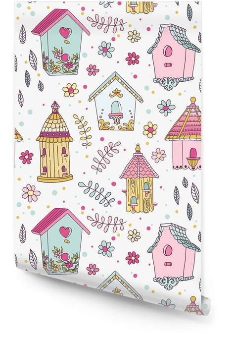 Cute Bird House Background - Seamless Pattern - in vector Wallpaper Roll - Landscapes