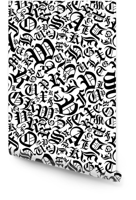 Seamless alphabet pattern in a gothic font style Wallpaper roll - Graphic Resources