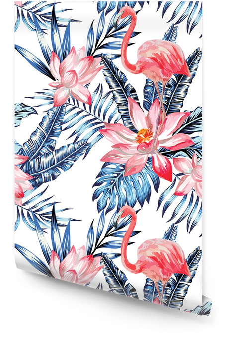 pink flamingo and blue palm leaves pattern Wallpaper roll - Animals