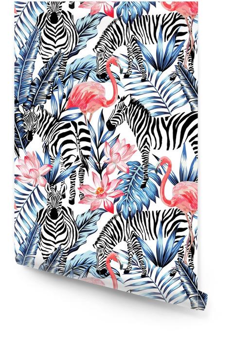 Modello tropicale del fenicottero dell'acquerello, della zebra e delle foglie di palma Rotolo di carta da parati - Animali