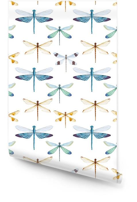 Watercolor libellen patroon Behangrol - Dieren
