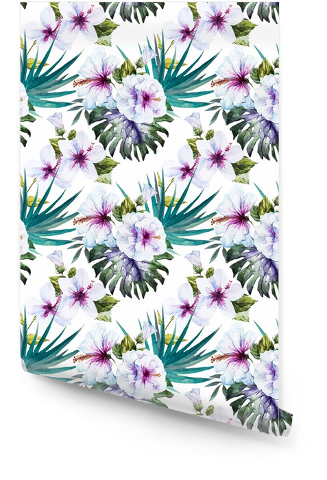 Wzory akwareli hibiskusa Tapeta w rolce - Rośliny i kwiaty