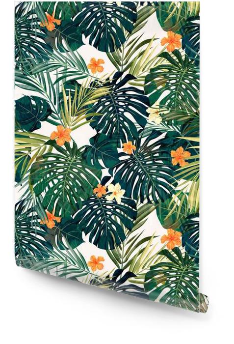 Fondo transparente de colores tropicales brillantes con hojas y Rollo de papel pintado - Plantas y flores