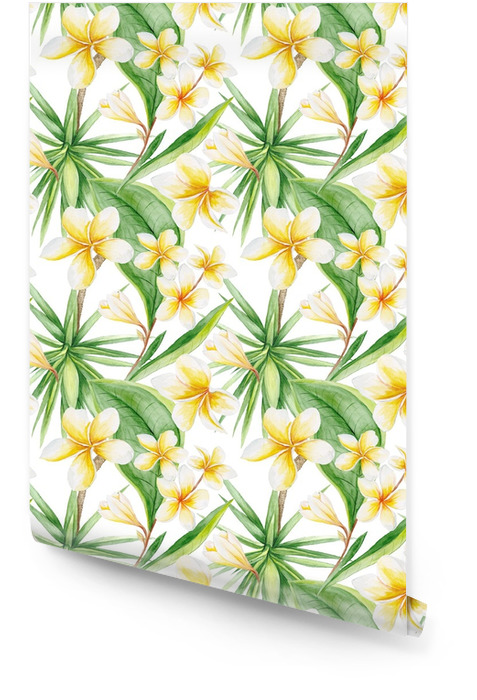 Watercolor Tropical Pattern Wallpaper roll - Plants and Flowers