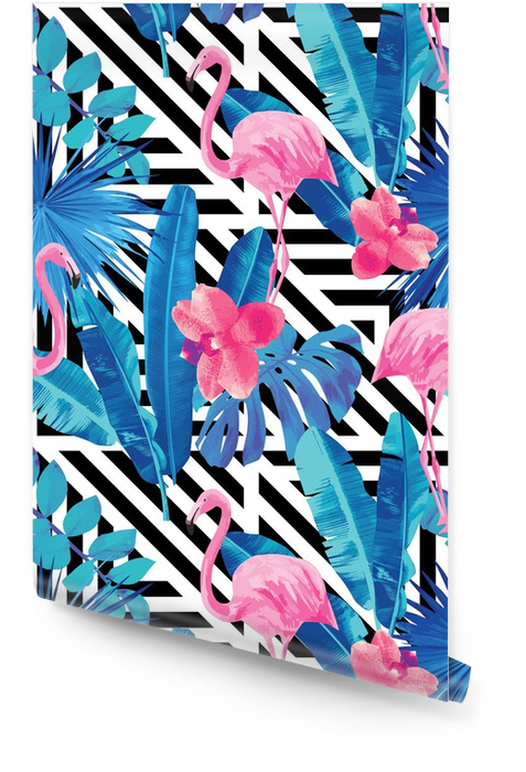 Flamenco y orquídeas modelo, fondo geométrico Rollo de papel pintado - Animales