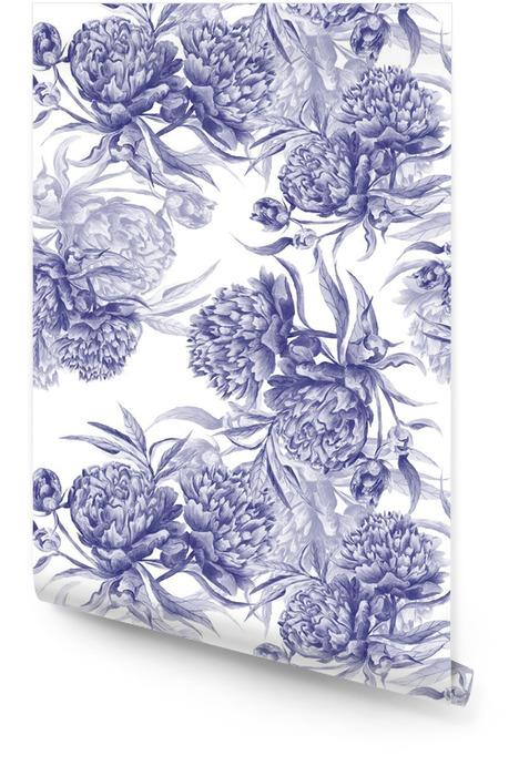 Grisaille Aquarel Peony Texture Behangrol - Bloemen en Planten