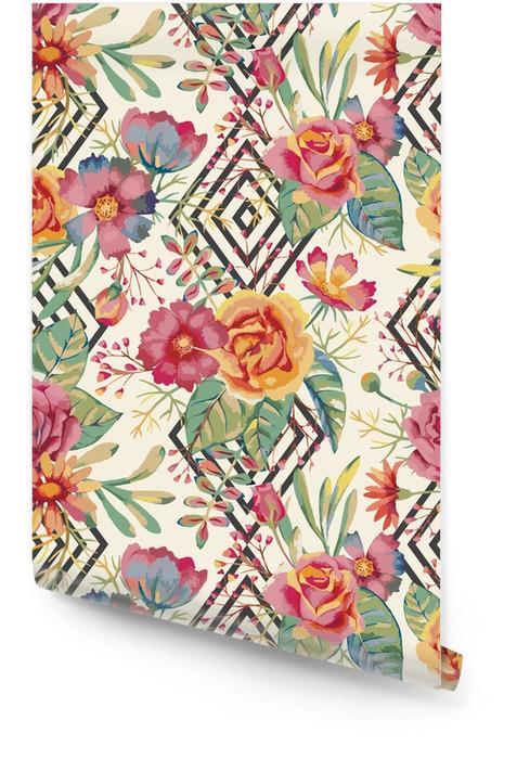 Akwarela bezszwowe wzór Tapeta w rolce - Rośliny i kwiaty