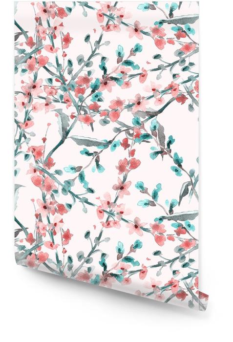Patrón de campo de flores sin fisuras Rollo de papel pintado - Plantas y flores