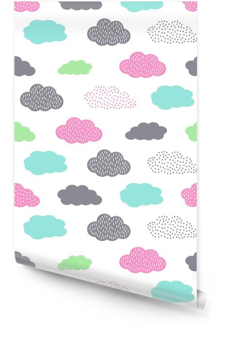 Värikäs saumaton kuvio pilvien kanssa lasten loma. söpö vauva suihku vektori tausta. lapsi piirustustyyli kuva. Rullatapetti - Maisemat
