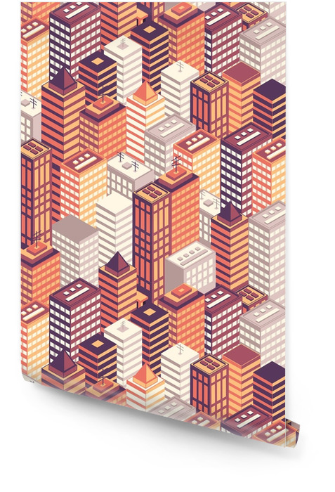 Colorful flat isometric city seamless pattern. Wallpaper roll - Buildings and Architecture