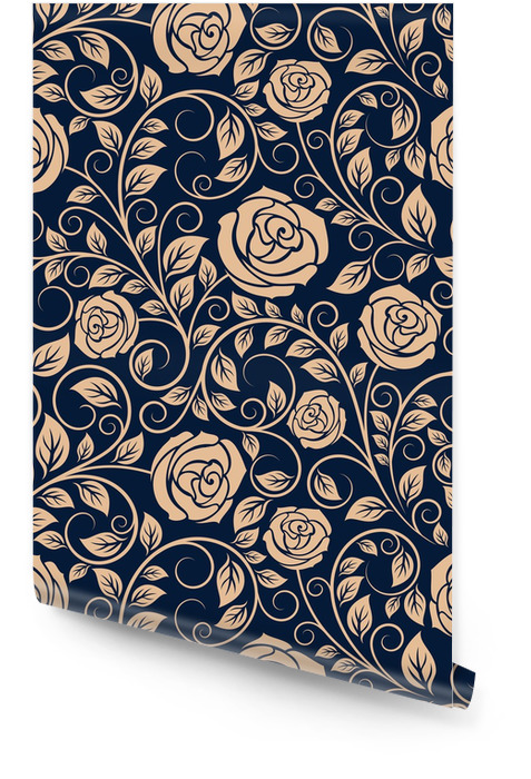 Vintage-Rosen Blumen nahtlose Muster Tapetenrolle - Hintergründe