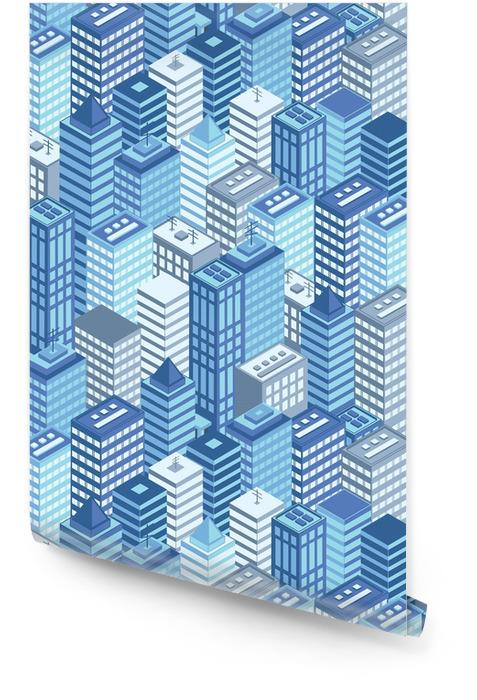 Azul de patrones sin fisuras ciudad isométrica plana. Rollo de papel pintado - Construcciones y arquitectura