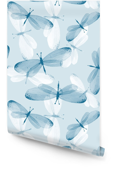 The pattern of butterflies. Seamless background. Watercolor illustration 12 Wallpaper roll - Animals