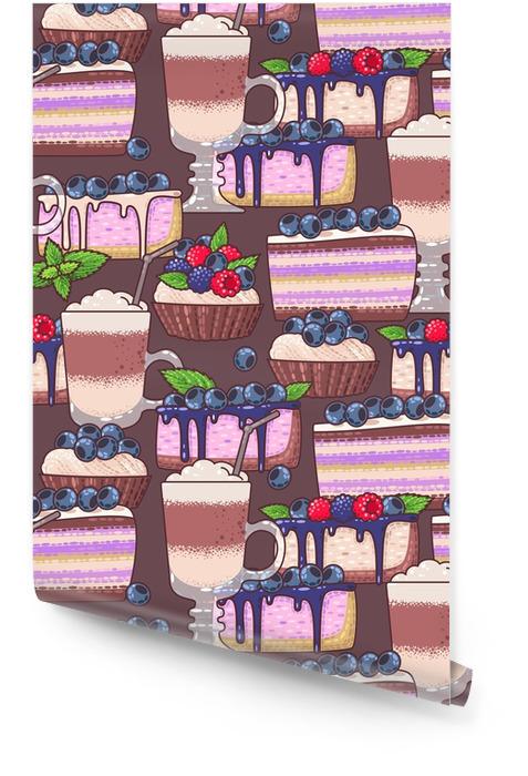 Café y pasteles sin costuras Rollo de papel pintado - Comida