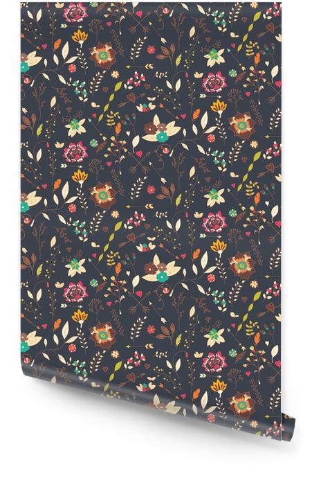 Fleurs bohème dessinés à la main, modèle sans couture Rouleau de papier peint - Plantes et fleurs