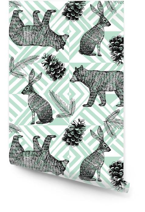 Ręcznie rysowane zimowy Modny wzór, geometryczne tle Tapeta w rolce - Zwierzęta
