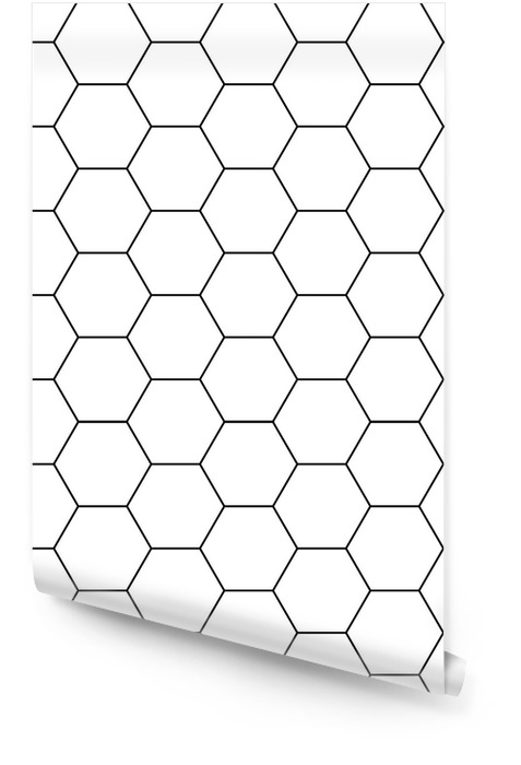 Vector hexágono moderno geometría perfecta, blanco y negro fondo geométrico abstracto, impresión moderna, monocromática textura retro, diseño de moda hipster Rollo de papel pintado - Recursos gráficos