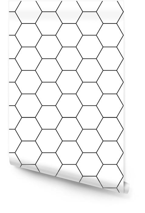 Wektor nowoczesny sześciokąt bezszwowe geometria wzór, czarno-białe tło geometryczne, modny druk, monochromatyczne retro tekstura, projektowanie mody hipster Tapeta w rolce - Zasoby graficzne