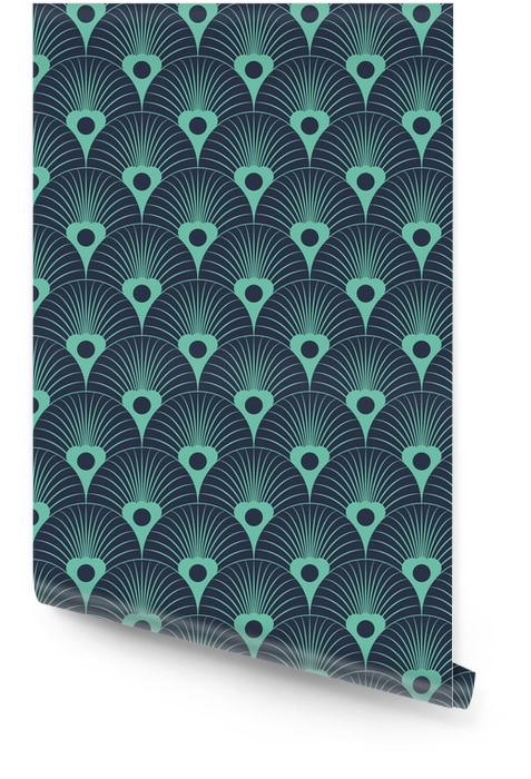 Nahtlose Neon blau Art-Deco-Blumen überlagernde Muster Vektor Tapetenrolle - Grafische Elemente