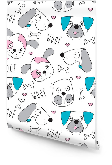 seamless dog pattern vector illustration Wallpaper roll - Animals