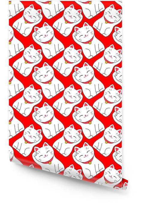 Maneki-Neko. naadloze patroon met Japanse gelukkige gastvrije kat Behangrol - Grafische Bronnen