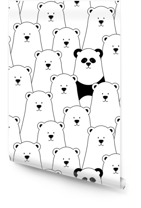 Vector seamless pattern with white polar bears and panda Wallpaper roll - Kids room
