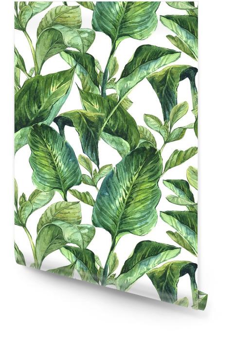 Liście tropikalne w akwareli Tapeta w rolce - Rośliny i kwiaty